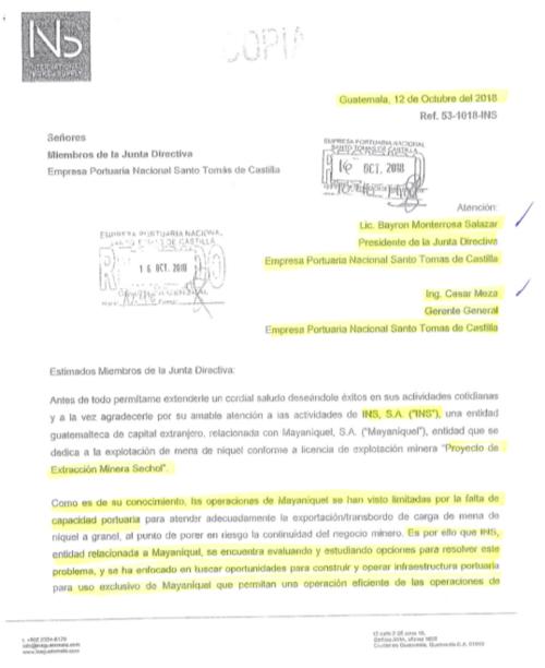 Carta enviada a Empornac en 2018 para solicitar el arrendamiento de una fracción de terreno.