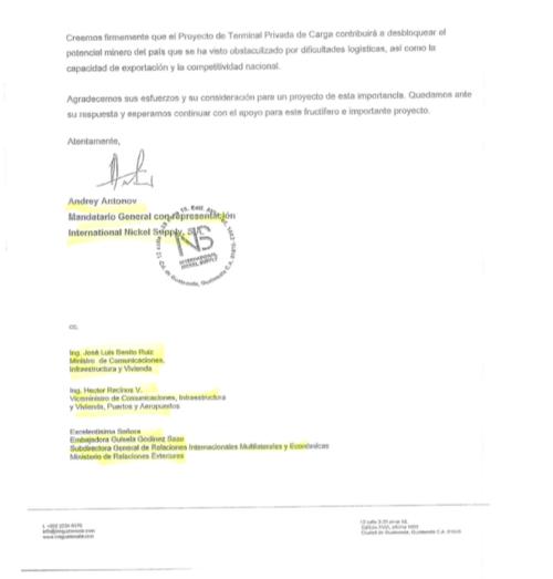 carta enviada a empornac con copia a José Luis Benito