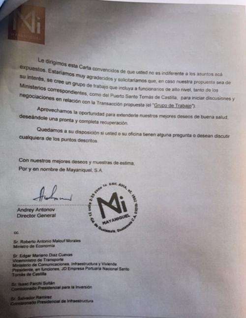 Carta enviada a Giammattei y copias