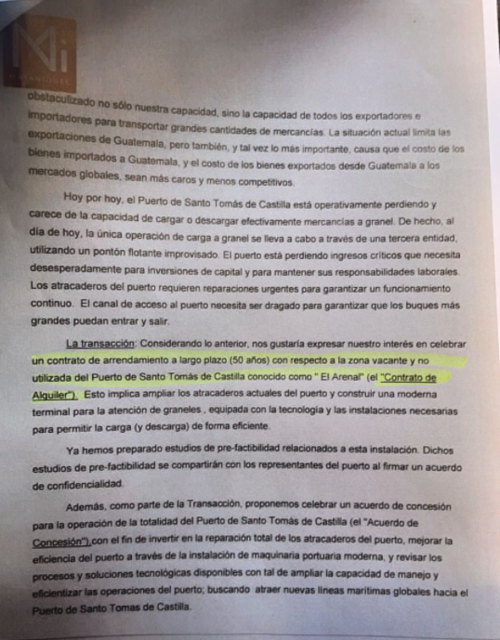 Detalles de la propuesta enviada a Giammattei, segunda parte.