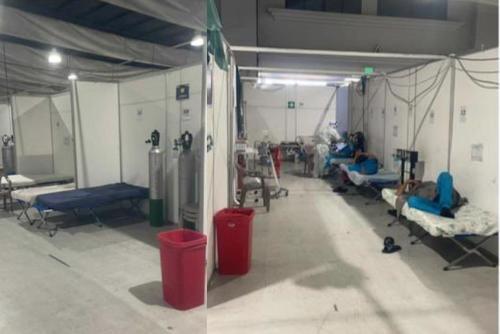 Interior del hospital Temporal Parque de la Industria. (Foto: Twitter)
