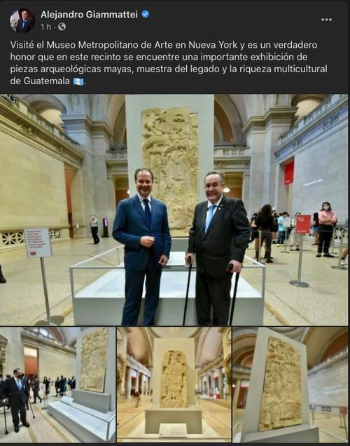 alejandro giammattei, museo nueva york, piezas arqueológicas guatemala
