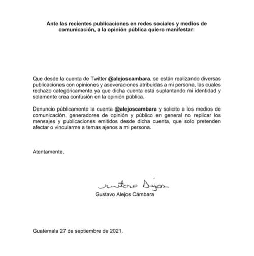 Carta pública de Gustavo Alejos por la cuenta creada en Twitter que afirma es falsa.