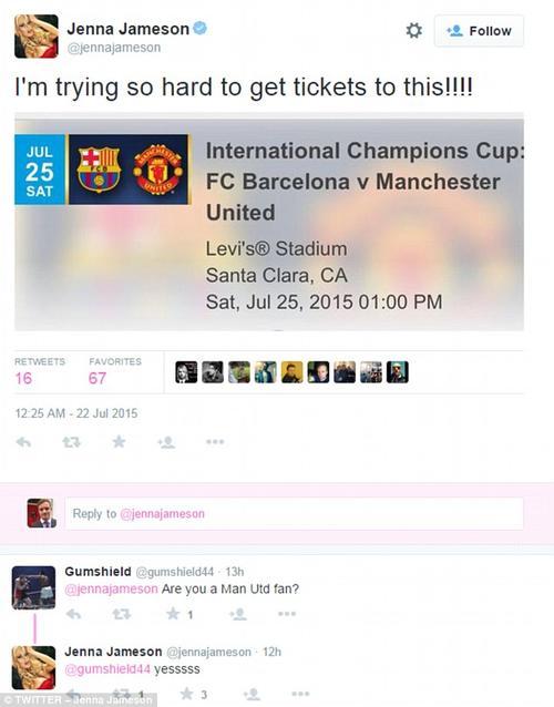 Manchester United FC Barcelona Jenna Jameson tuit