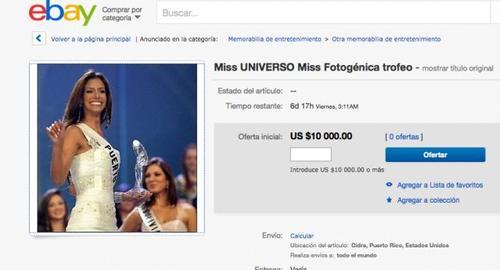 Esta es la oferta de venta del trofeo de Alba Reyes, Miss Puerto Rico 2004. (Foto: Soy502)