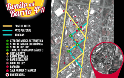 Este es el mapa de los lugares que serán ocupados en este festival artístico. (Foto: Bonito mi Barrio oficial)