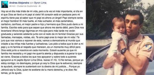 Hija de Byron Lima emotivo mensaje