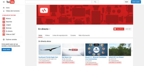 YouTube posee un canal donde publica todas las transmisiones en vivo del momento