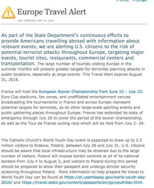 Alerta emitida por el Departamento de Estado de Estados Unidos.