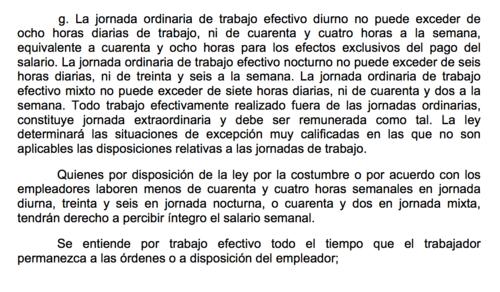 Este es el artículo constitucional referente al trabajo a tiempo parcial. (Foto: captura de pantalla)