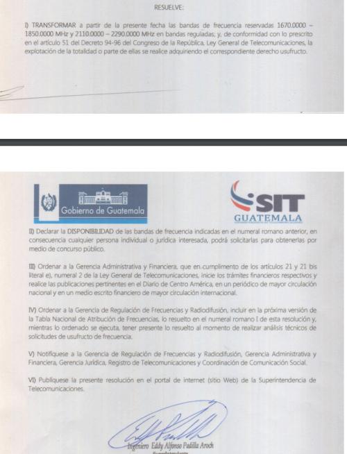Documento de la Resolución SIT 265-2015. (Foto: SIT)