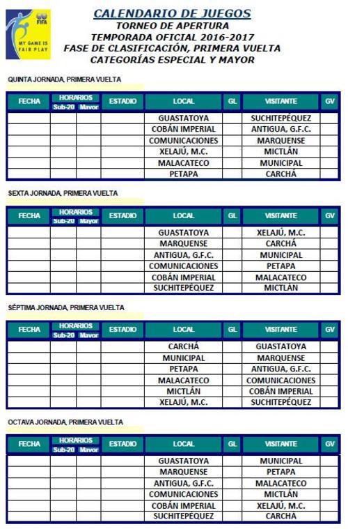 calendario torneo Apertura 2016 foto
