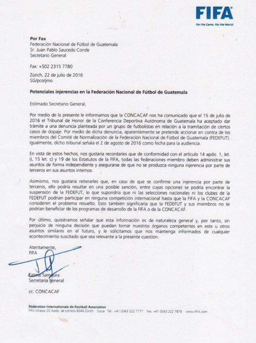 carta de fifa a FedefutGuate