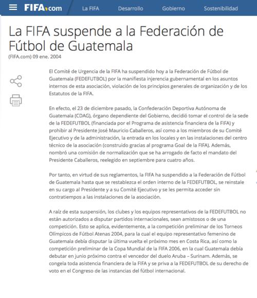 FIFA suspendió a Guatemala foto