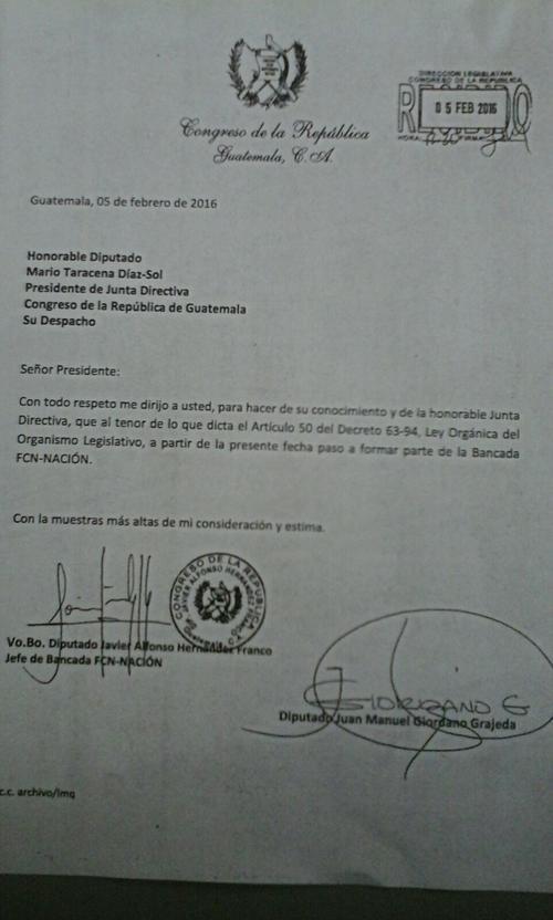 En poco más de 4 años, el diputado Juan Manuel Giordano ha pasado por 6 bancadas en el Congreso. (Foto: Soy502)