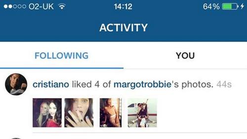 Instagram Cristiano Ronaldo a Margot Robbie