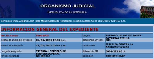 En 2003 Irvin Aguilar fue procesado por narcotráfico. (Foto: captura de pantalla/Consultas del Organismo Judicial)