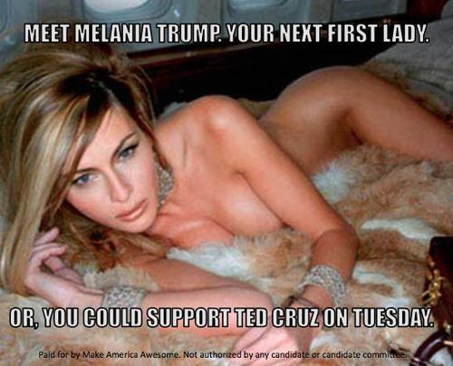 Esta imagen de la esposa de Donald Trump es parte de una campaña contra el candidato republicano. (Foto: Twitter)