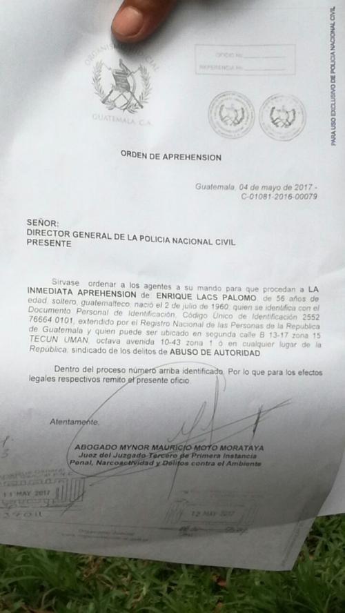 Esta es la supuesta orden de captura contra Lacs. (Foto: Twitter)