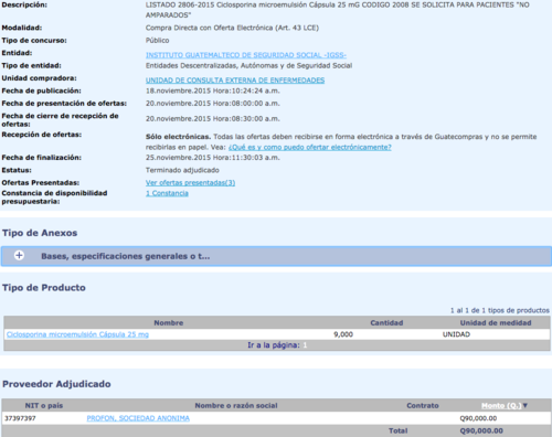 "Concurso de adquisición de Ciclosporina para pacientes ""no amparados""."