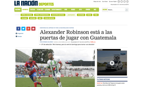 Alexander Robinson nación Costa Rica foto
