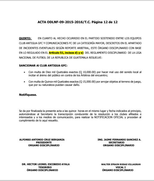 Foto Resolución multa a antigua gfc  clausura 2016