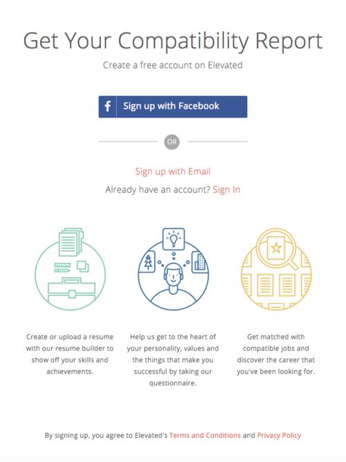 En la página permiten iniciar sesión a través de Facebook. (Foto: Elevated Careers)