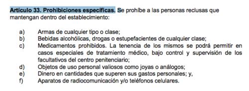 Artículos prohibidos por la Ley del Régimen Penitenciario.