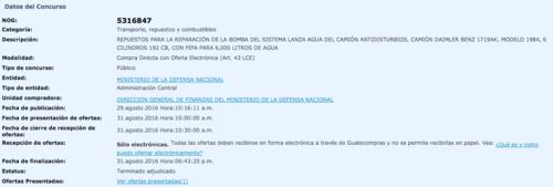 El concurso en Guatecompras. (Foto: Captura de Pantalla/Guatecompras)