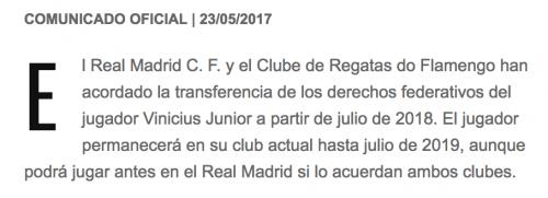 El Real Madrid hizo oficial la incorporación del brasileño Vinicius Jr.