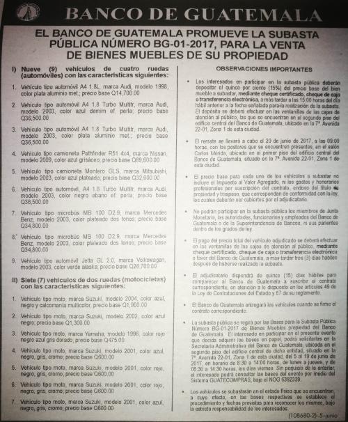 Esta es la información publicada por el Banguat.