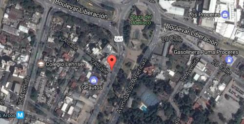 La sede del Club Municipal se ubicó en la segunda calle y Avenida Las Américas, por lo que se puede deducir que el inmueble donde estuvo el call center del PP se encuentra en esa área. (Imagen: Google Maps)