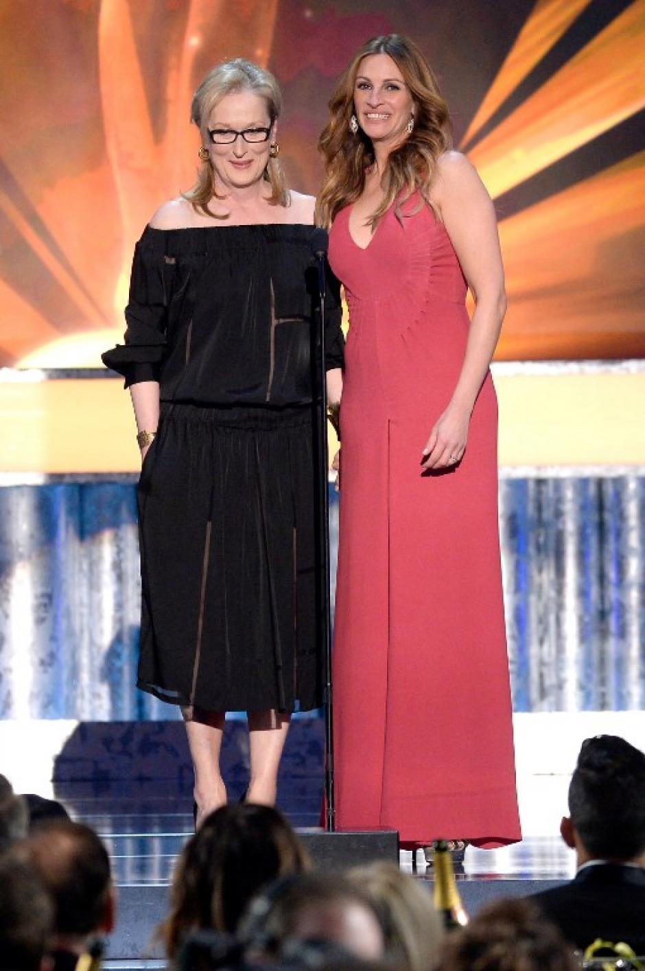 """Julia Roberts y Meryl Streep presentaron la película """"August: Osage County"""", nominada a mejor reparto en una película. (AFP)"""