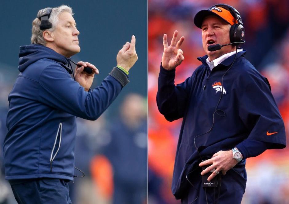 En esta imagen el entrenador en jefe Pete Carroll de los Seattle Seahawks (L) y el entrenador en jefe John Fox, de los Broncos de Denver. Los Halcones Marinos de Seattle y Denver Broncos competirán en el Super Bowl XLVIII el 2 de febrero de 2014 en el MetLife Stadium. (AFP)