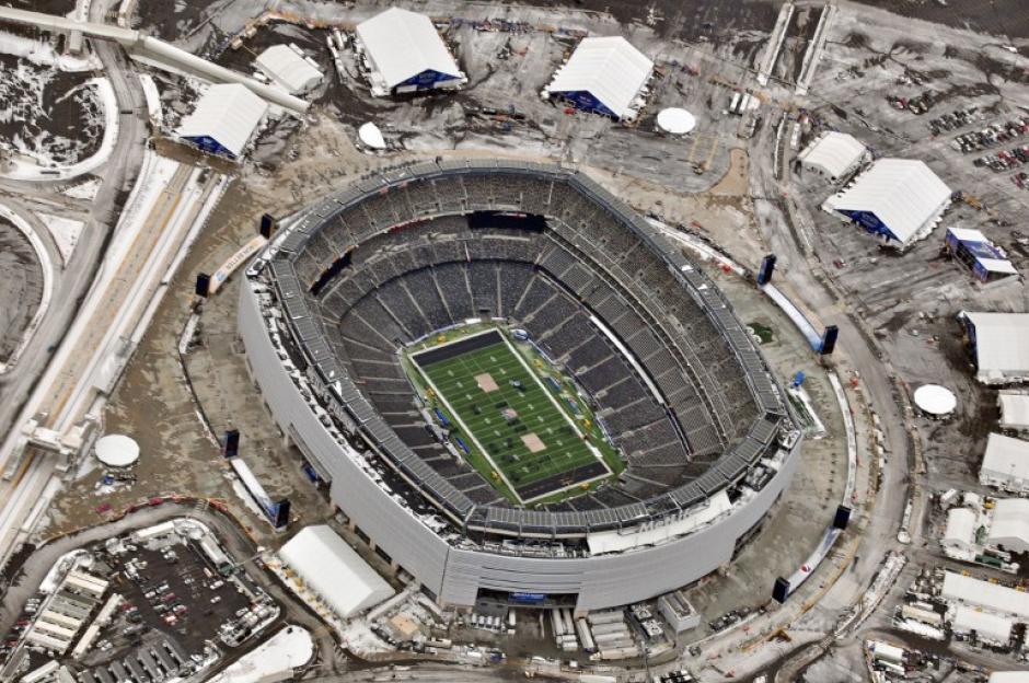 El Metlife Stadium de Nueva Yersey está listo y el día del Super Bowl se espera que la temperatura sea de 1 grado centígrado. (Foto: Li-Aerial/AFP)