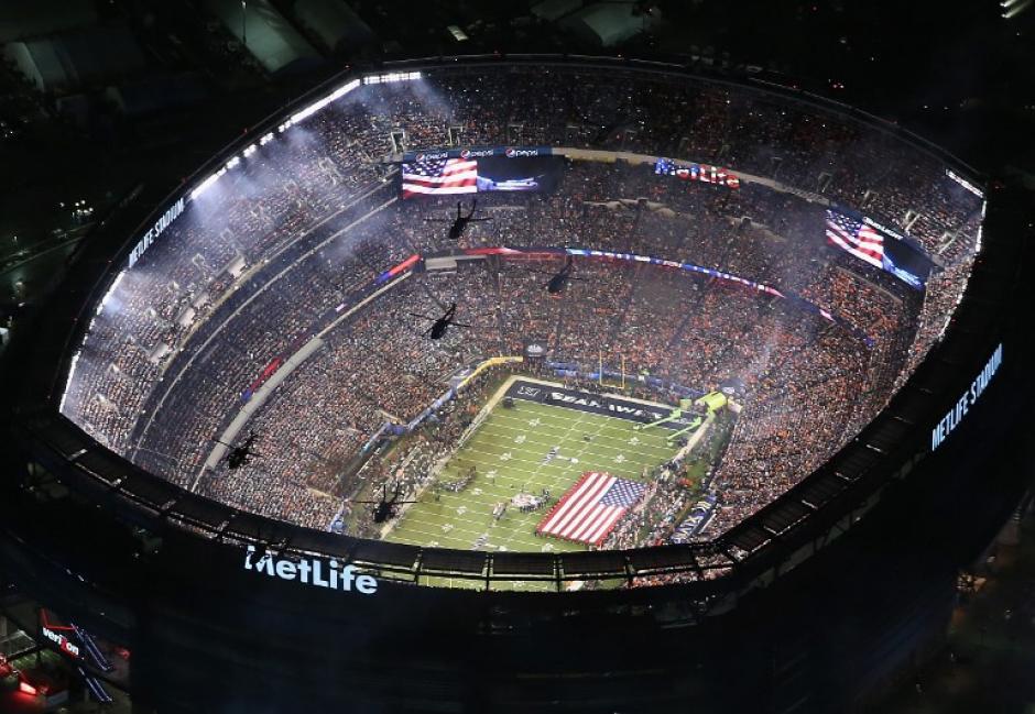 Vista aérea del MetLife Stadium, escenario del Super Bowl XLVIII. (Foto: AFP)