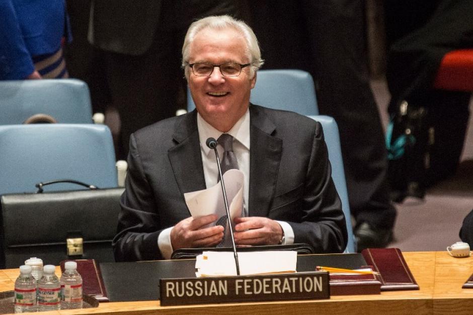 El representante permanente de Rusia, Vitaly Churkin, cuando participaba en la reunión de la Organización de Naciones Unidas. (Foto. AFP)