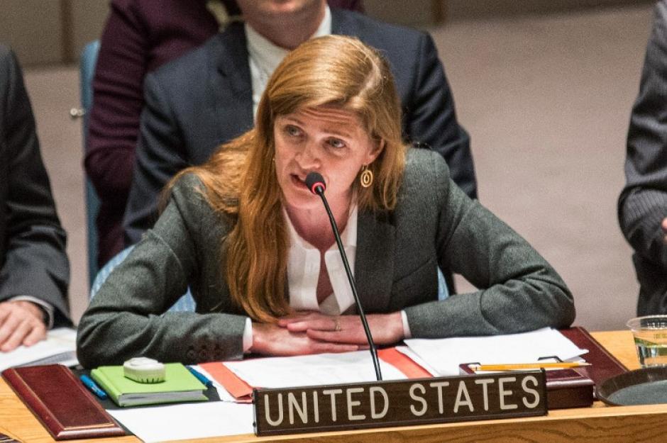 Samantha Power embajadora de Estados Unidos durante su alocución en la reunión de la ONU. (Foto: AFP)