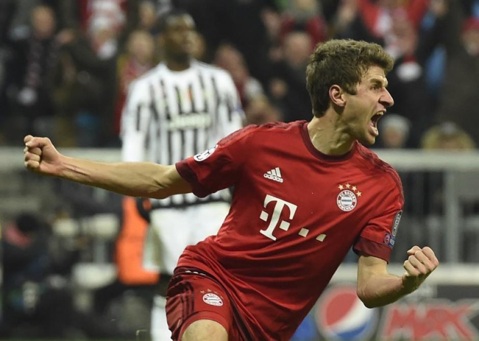 Thomas Müller celebra tras el 2-2 ante la Juve. (Foto: AFP)