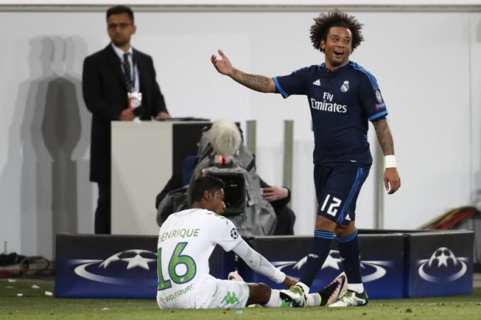 Marcelo estuvo bastante inquieto y cometió faltas a sus rivales durante todo el encuentro ante el Wolfsburgo