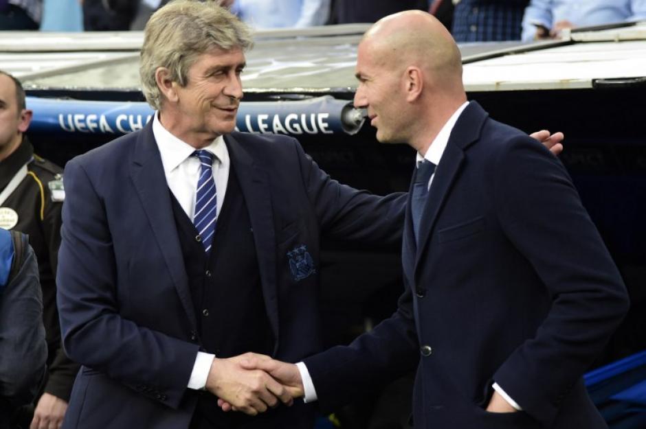 Pellegrini y Zidane se saludaron. (Foto: AFP)