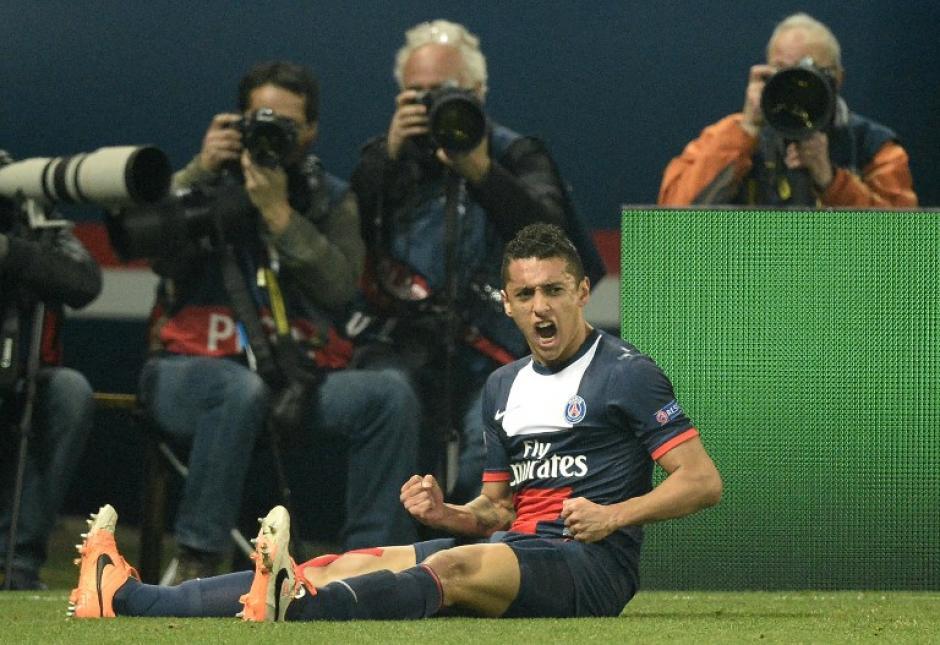 Marquinos celebra eufórico el gol conseguido al minuto 13, que de momento significó el empate transitorio