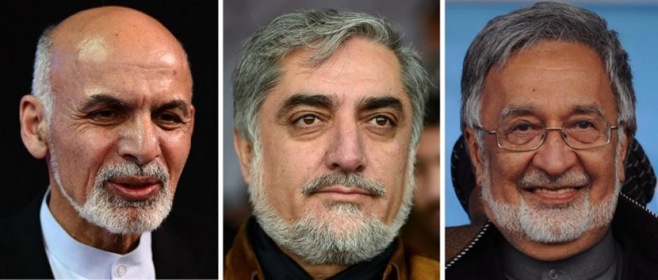 Son 8 aspirantes a la presidencia de Afganistán, pero son tres los que tienen las mayores posibilidades de alcanzarlas. Ellos sonAshraf Ghani Ahmadzai, Abdullah Abdullah y Zalmai Rassoul. (Foto: AFP)