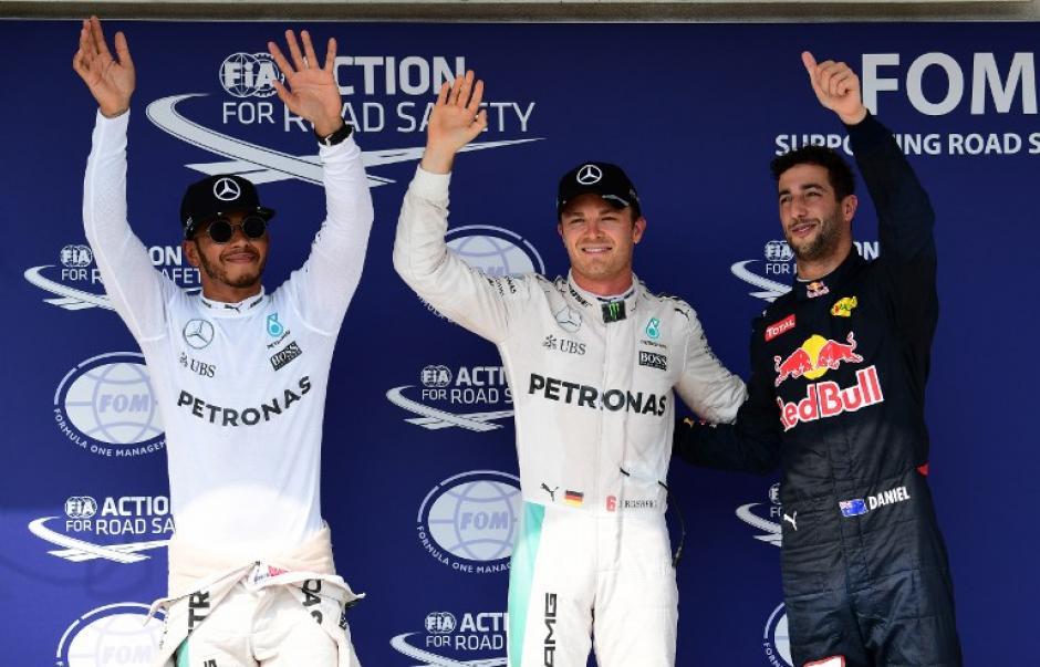 Hamilton, Rosberg y Ricciardo, los tres primeros (AFP)