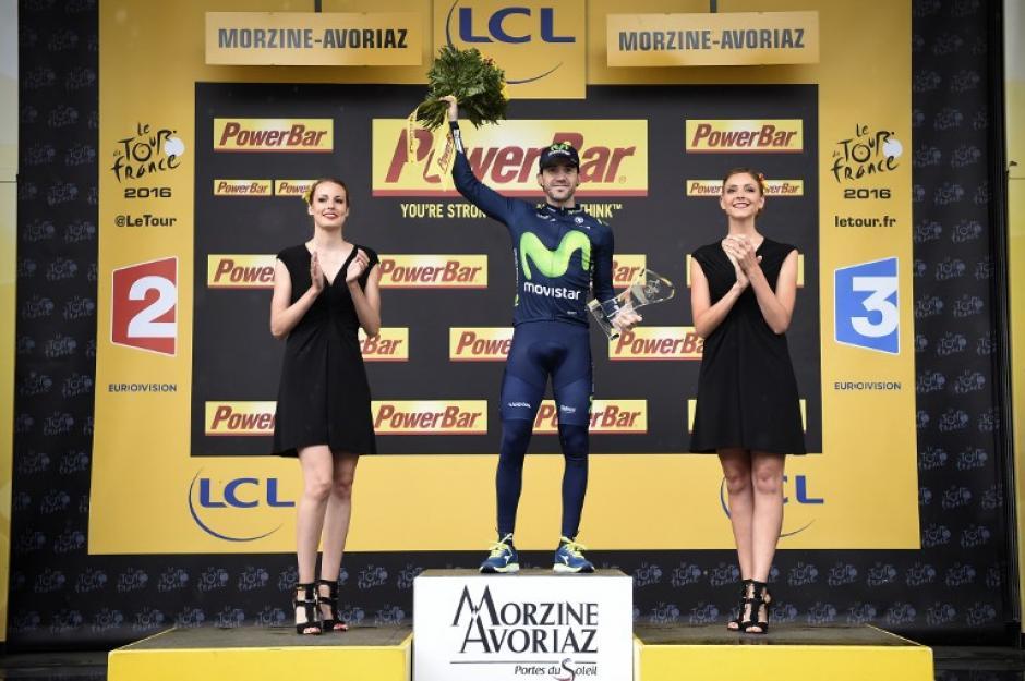 Izaguirre celebra su victoria en la penúltima jornada del Tour. (AFP)