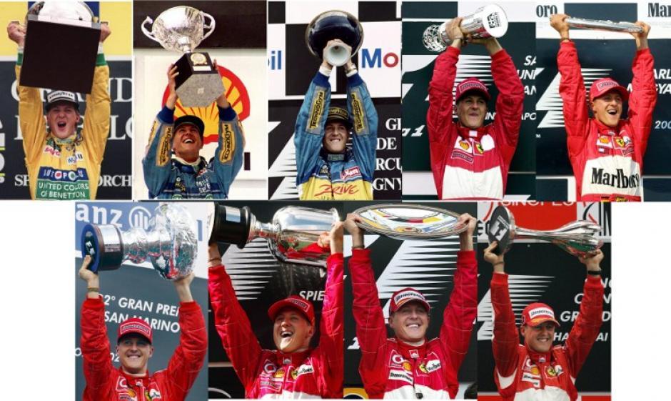 Combo fotográfico que recoge la historia de éxito de Michael Schumacher dentro de la Fórmula Uno. (AFP)