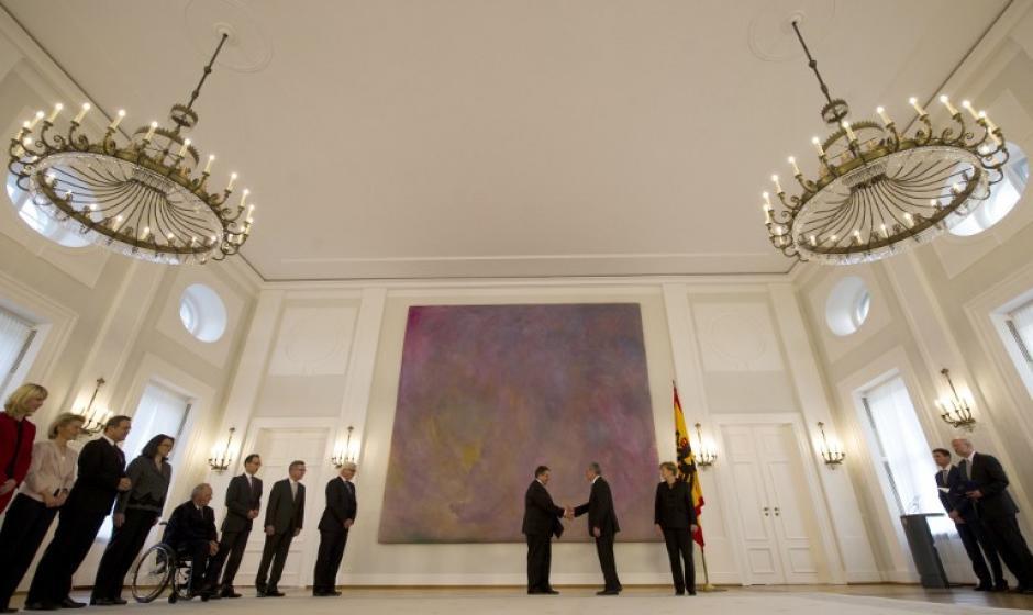 En el Palacio Bellevue de Berlín junto al presidente de Alemania, Joachim Gauck. Foto AFP