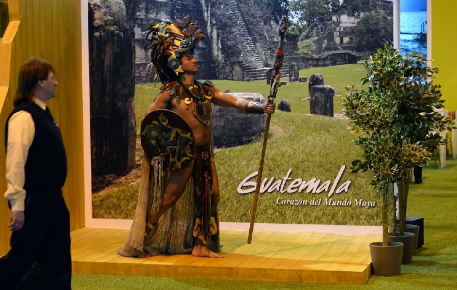Así luce el stand de Guatemala en la Feria Internacional de Turismo 2014. Foto AFP