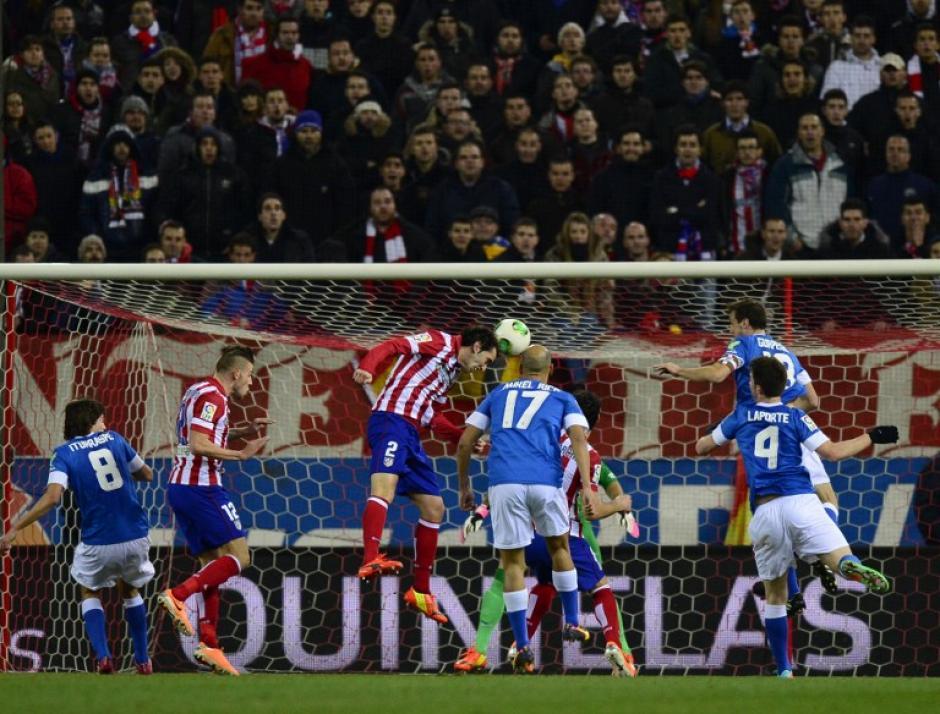 El defensor uruguayo Diego Godin fue el anotador del único gol en el juego de ida, dándole la victoria al Atlético de Madrid sobre el Athletic de Bilbao