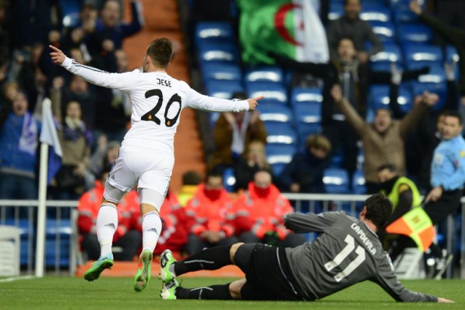 Jesé Rodríguez Ruiz celebra tras anotar el gol que le dio la clasificación definitiva al Real Madrid a la ronda de semifinales de la Copa del Rey